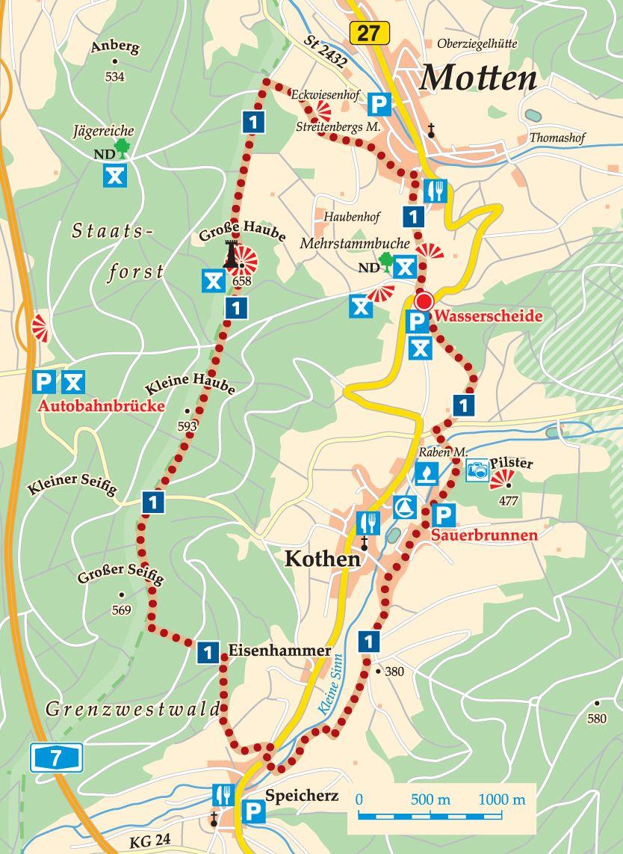 Rhön-Rundweg 1 Motten Karte