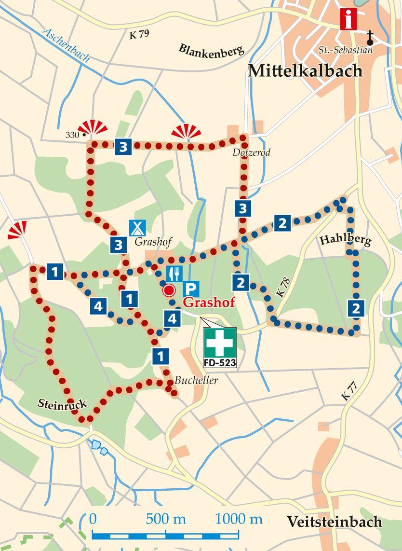 Rhön-Rundweg 1 Grashof Karte