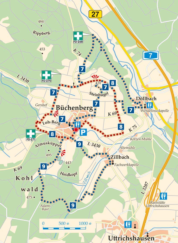 Rhön-Rundweg 9 Eichenzell Karte