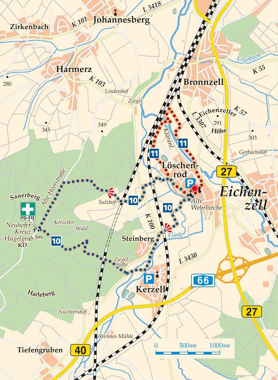Rhön-Rundweg 10 Eichenzell Karte