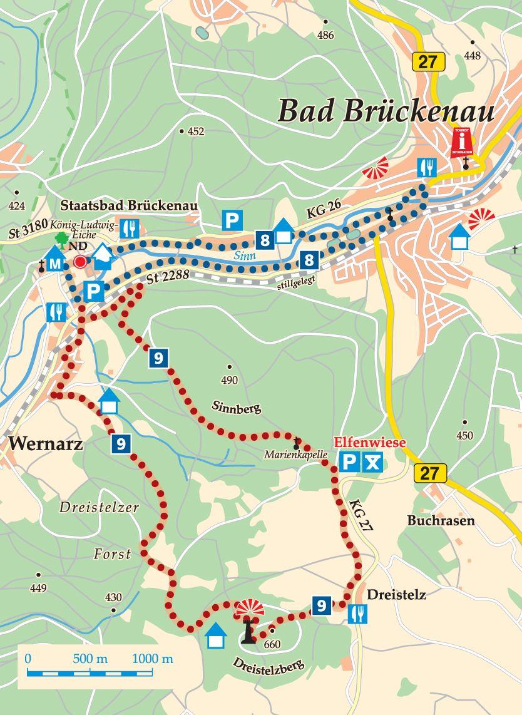 Rhön-Rundweg 9 Sinntal Karte
