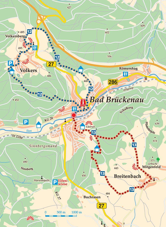 Rhön-Rundweg 12 Sinntal Karte