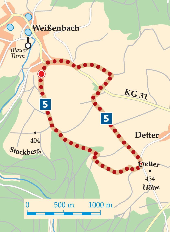 Rhön-Rundweg 5 Zeitlofs Karte