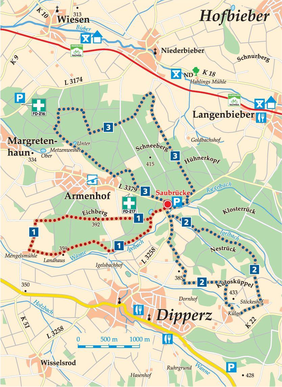 Rhön-Rundweg 3 Saubrücke Karte