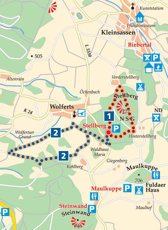 Rhön-Rundweg 2 Stellberg Karte