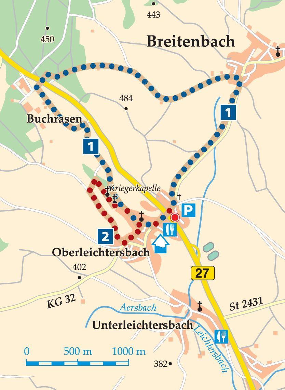Rhön-Rundweg 2 Oberleichtersbach Karte