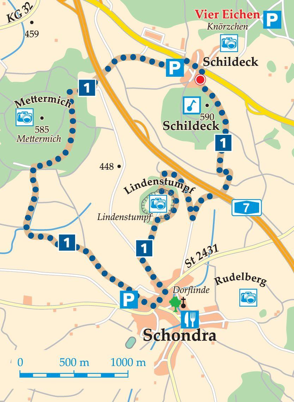 Rhön-Rundweg 1 Schondra Karte