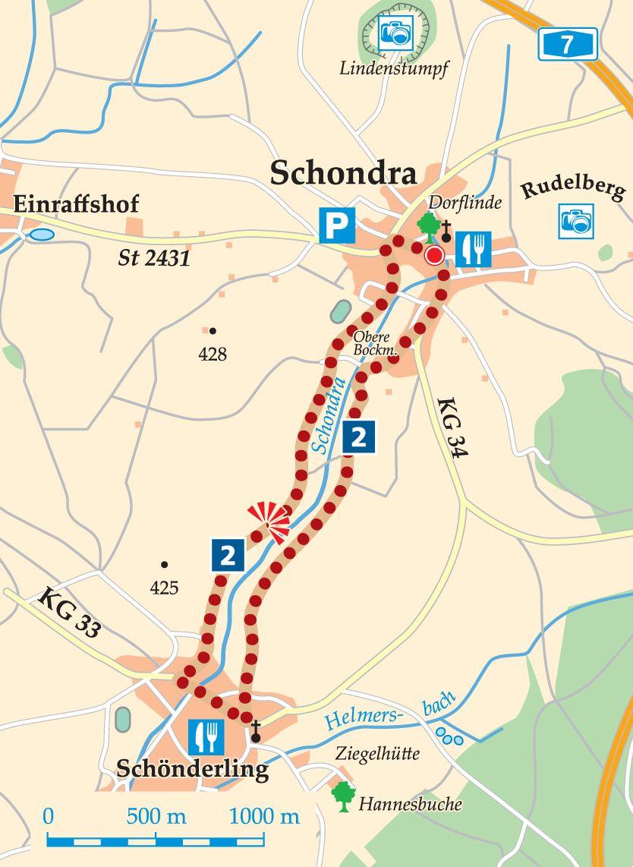 Rhön-Rundweg 2 Schondra Karte