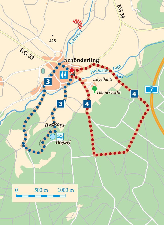 Rhön-Rundweg 4 Schondra Karte