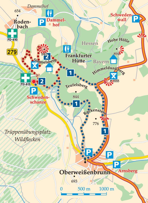 Rhön-Rundweg 2 Schwedenschanze Karte
