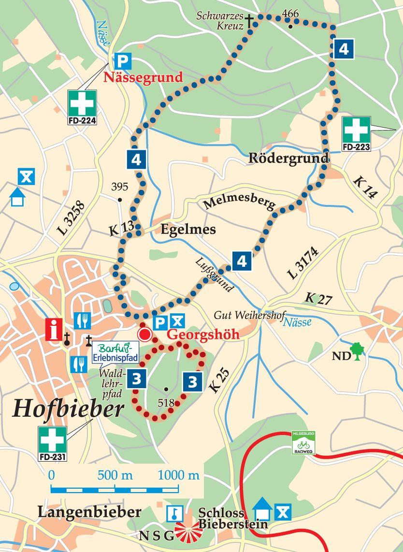 Rhön-Rundweg 4 Hofbieber Karte