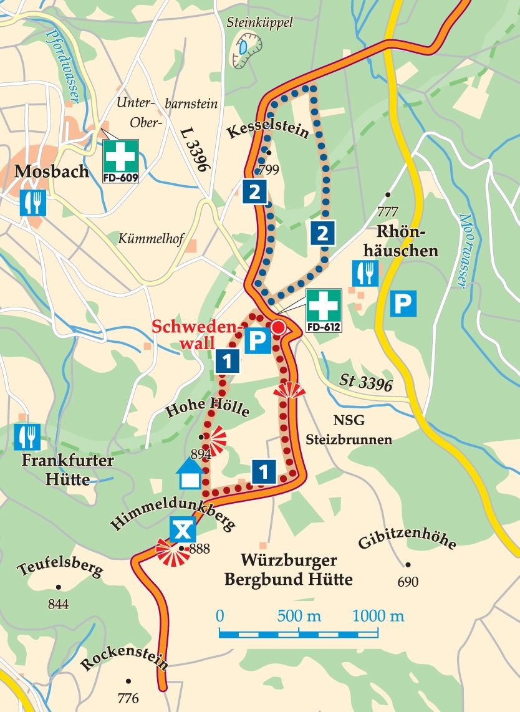 Rhön-Rundweg 1 Schwedenwall Karte
