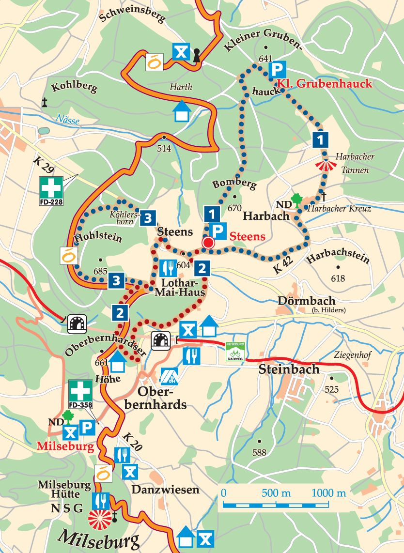 Rhön-Rundweg 3 Steens Karte