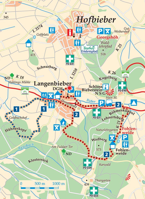 Rhön-Rundweg 1 Langenbieber Karte