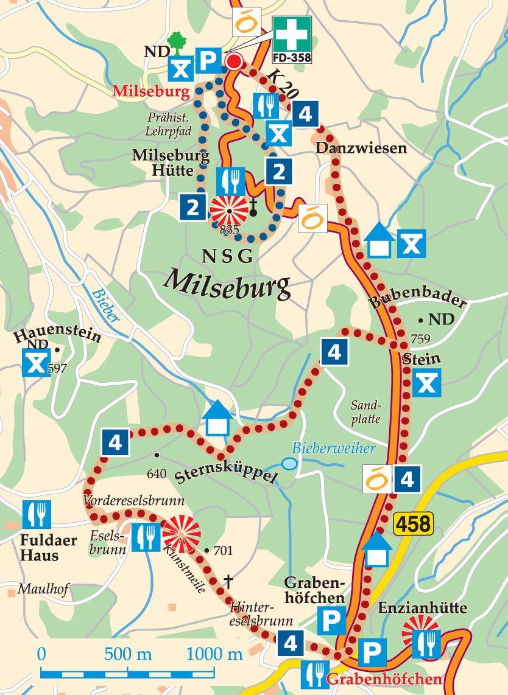 Rhön-Rundweg 2 Milseburg Karte