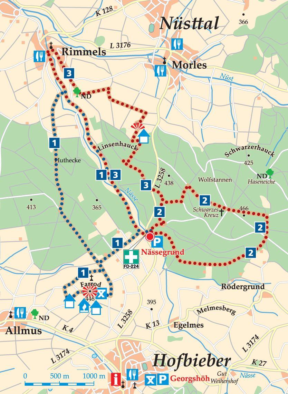 Rhön-Rundweg 2 Nässegrund Karte