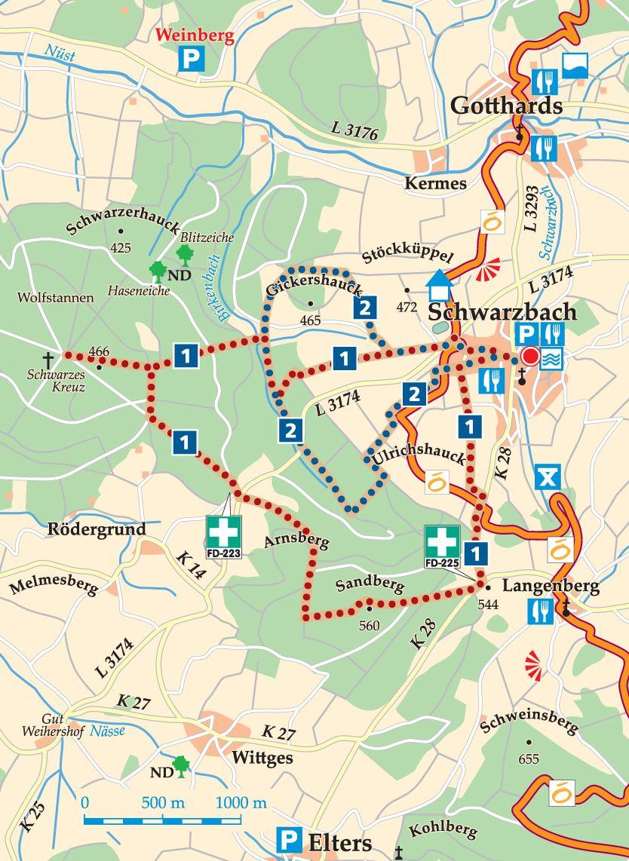 Rhön-Rundweg 2 Schwarzbach Karte
