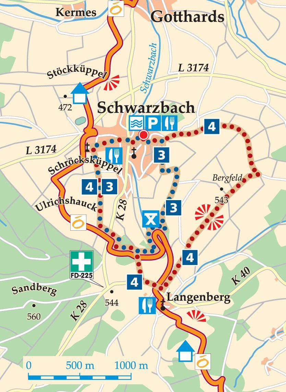 Rhön-Rundweg 3 Schwarzbach Karte