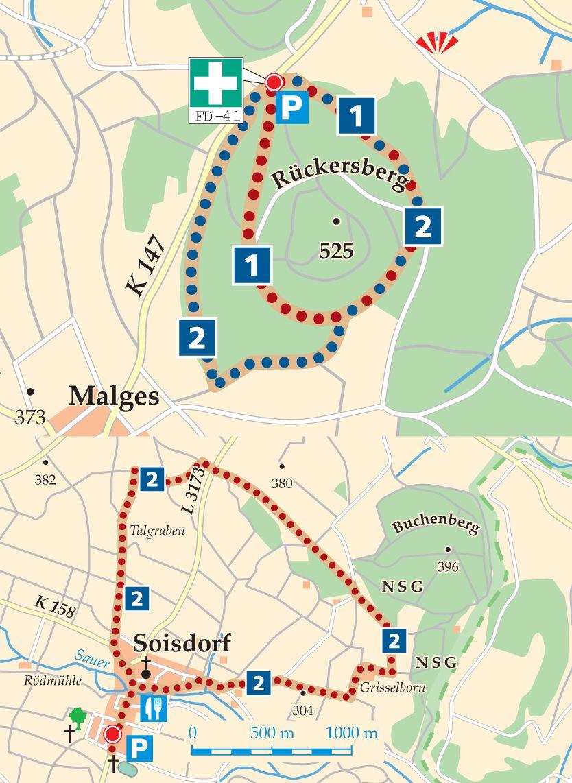Rundwege 2 Eiterfeld Soisdorf Karte