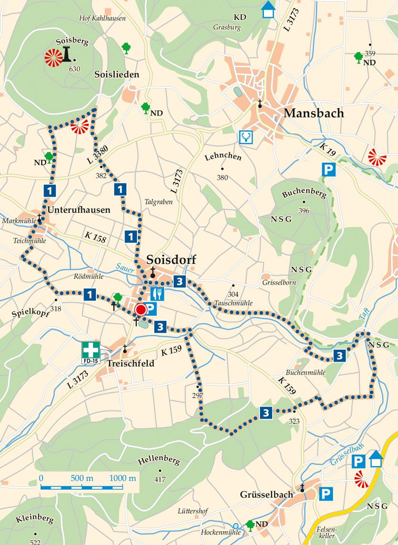 Rhoen Rundwege 1 Eiterfeld Soisdorf Karte