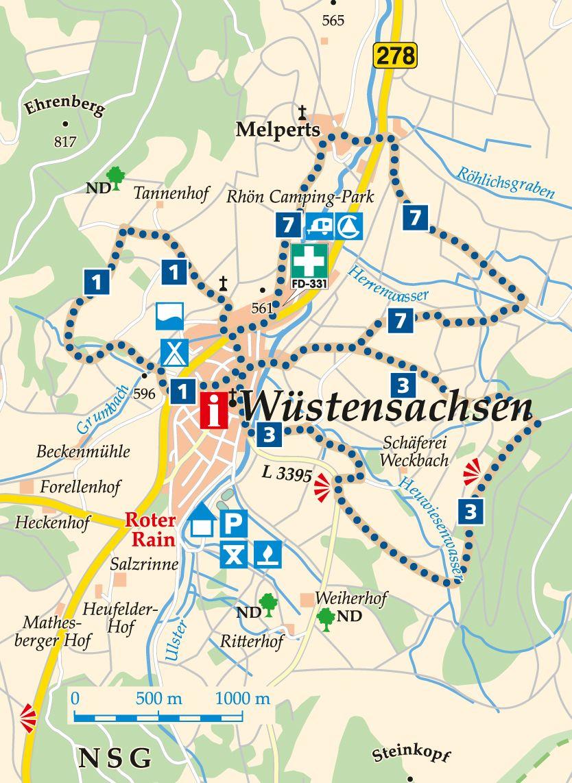 Rhön-Rundweg 3 Wüstensachsen Karte