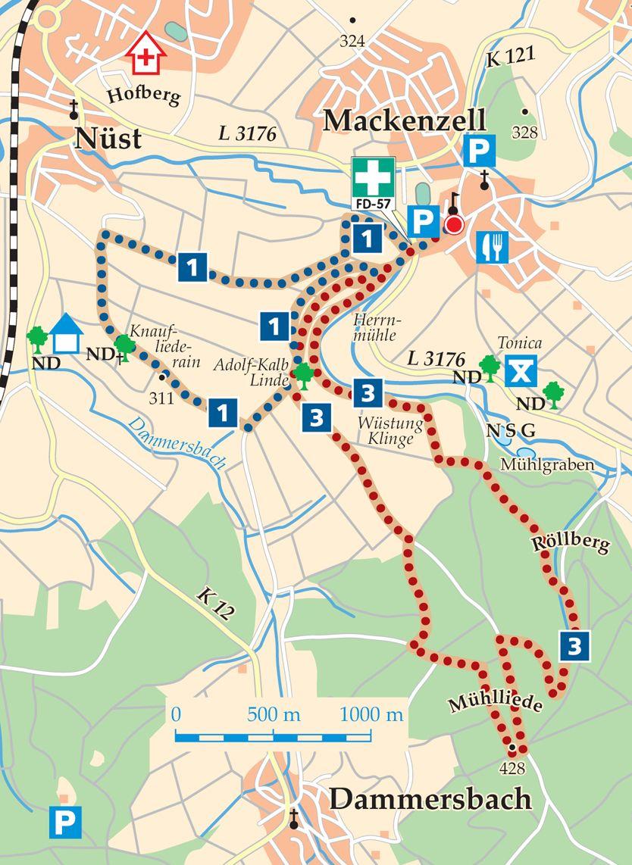 Rhoen Rundwege 3 Huenfeld Mackenzell Karte