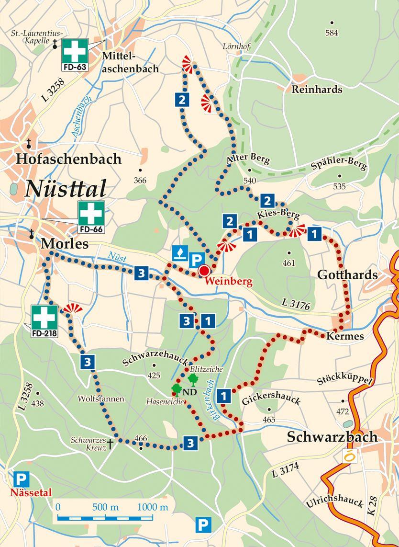 Rhoen Rundwege 1 Nuesttal Weinberg Karte