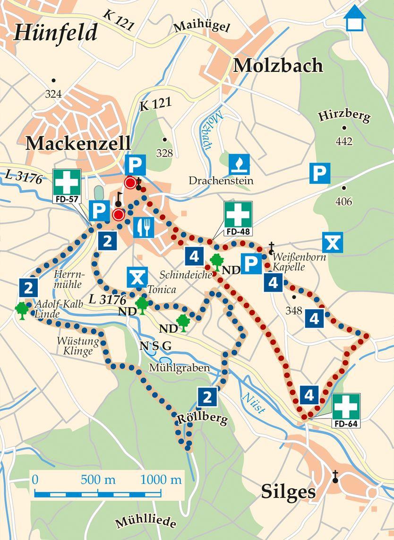Rhoen Rundwege 2 Huenfeld Mackenzell Karte