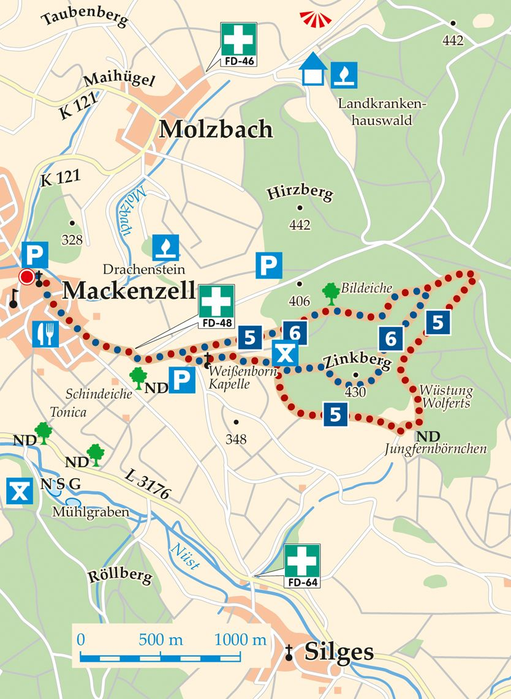 Rhoen Rundwege 6 Huenfeld Mackenzell Karte