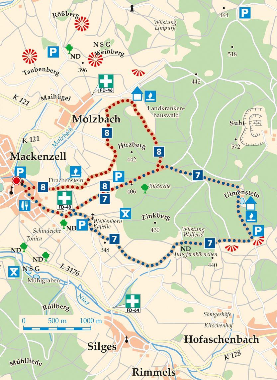 Rhoen Rundwege 8 Huenfeld Mackenzell Karte
