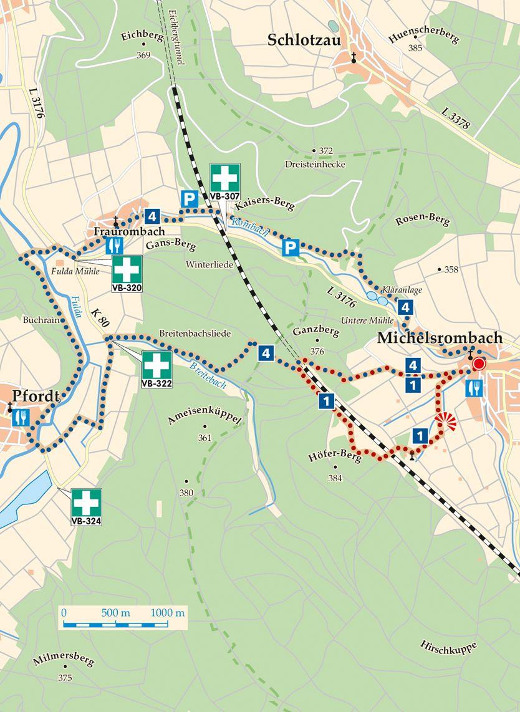Rhoen Rundwege 4 Huenfeld Michelsrombach Karte
