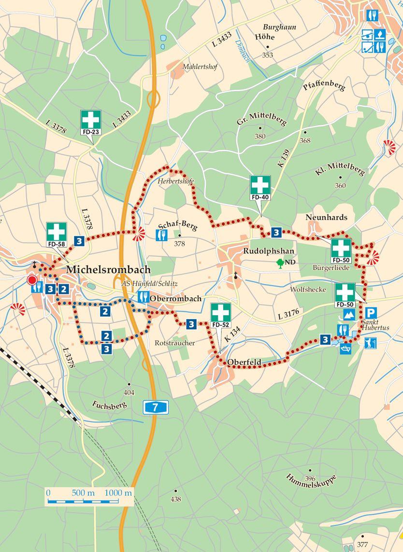 Rhoen Rundwege 2 Huenfeld Michelsrombach KarteRhoen Rundwege 2 Huenfeld Michelsrombach Karte