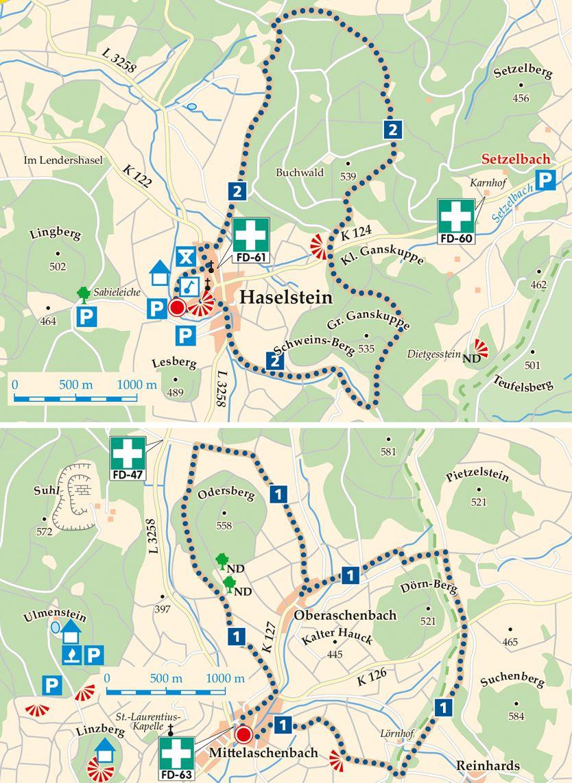 Rhoen Rundwege 1 Nuesttal Mittelaschenbach Karte