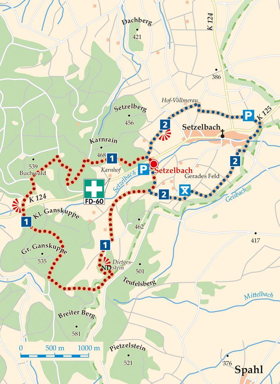 Rhoen Rundwege 1 Rasdorf Setzelbach Karte
