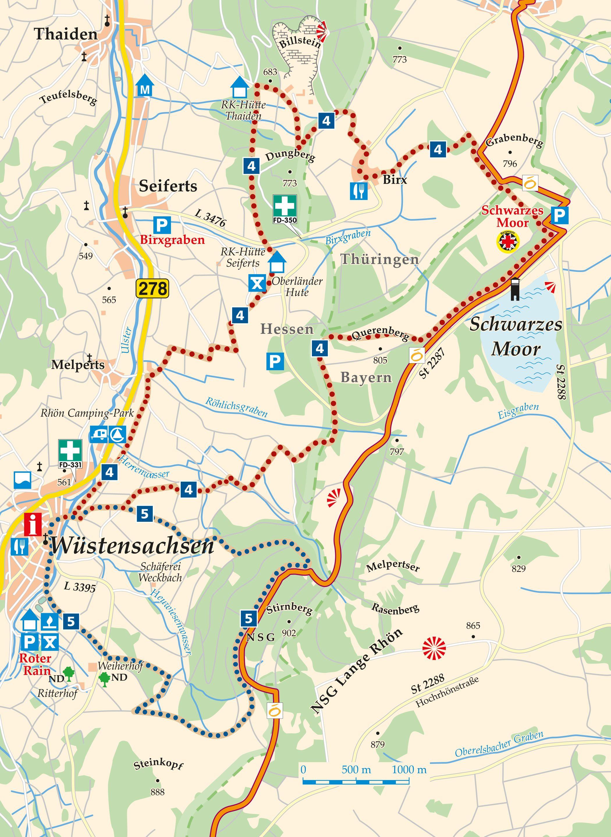 Rhön-Rundweg 5 Wüstensachsen Karte