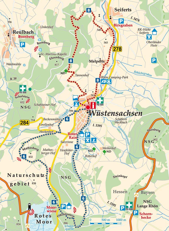 Rhön-Rundweg 8 Wüstensachsen Karte