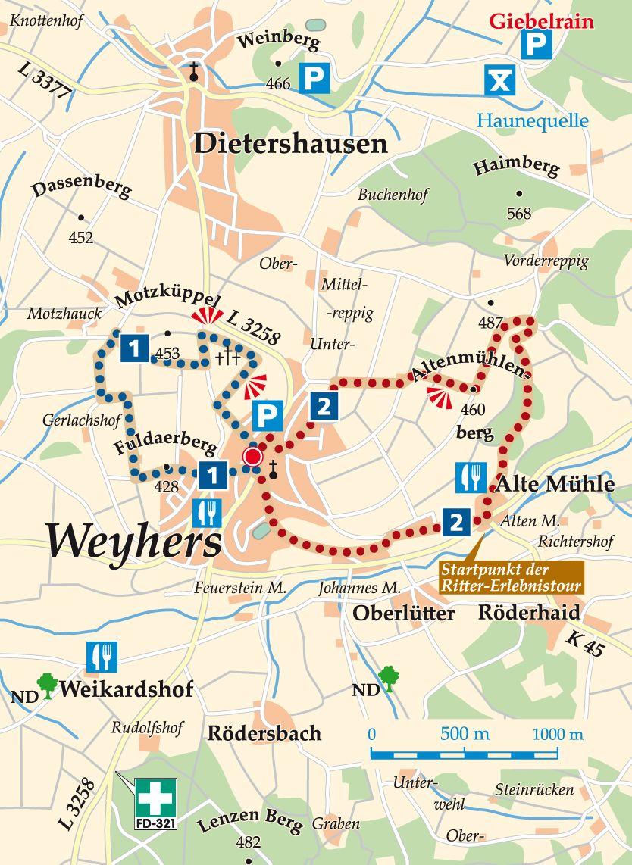 Rhön-Rundweg 2 Weyhers Karte