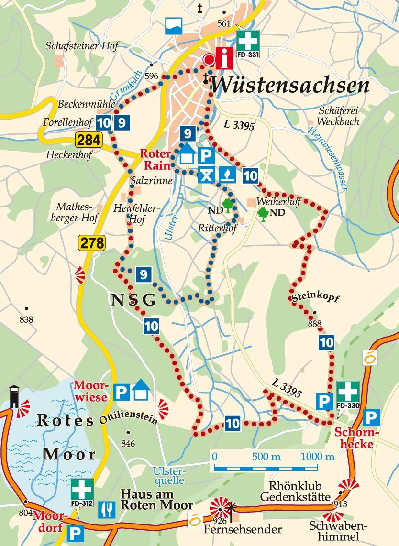 Rhön-Rundweg 10 Wüstensachsen Karte