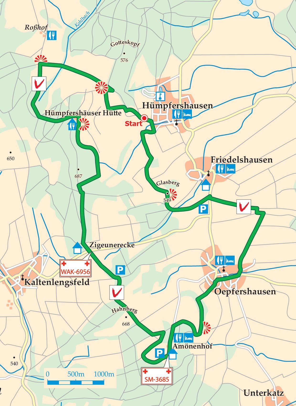 Extratour Vorderrhönweg Ortschaft Karte
