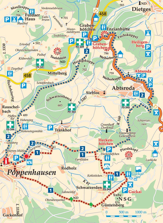 Rhön-Rundweg 2 Poppenhausen Karte