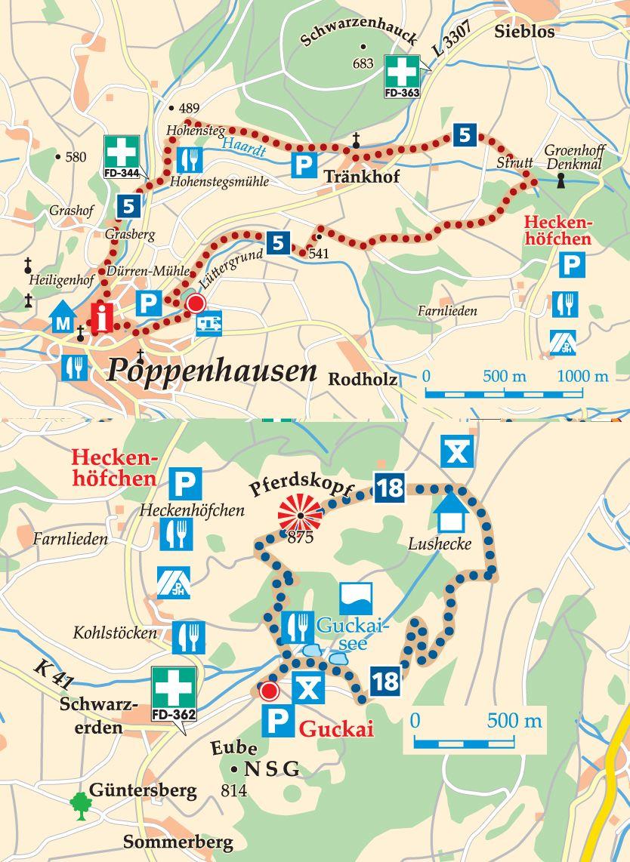 Rhön-Rundweg 5 Poppenhausen Karte