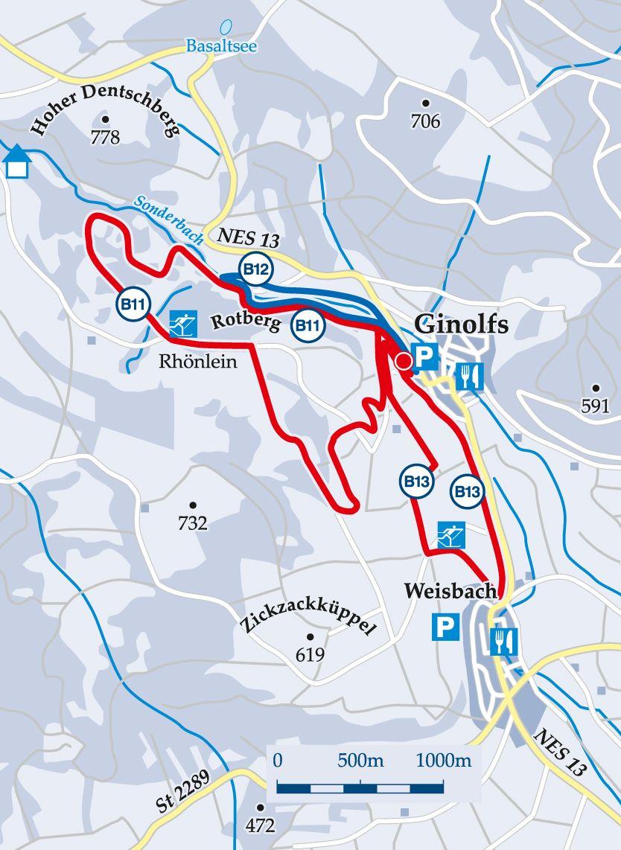 Rundloipe B11 Rotberg Karte