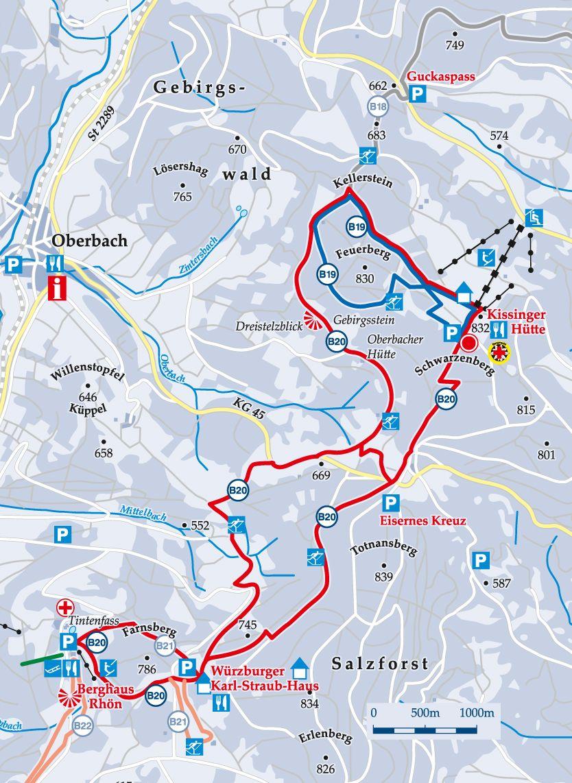 Rundloipe B19 Feuerberg Karte