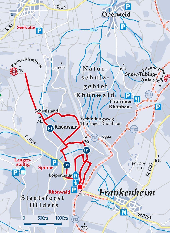 Rundloipe H1 Rhönwald Karte
