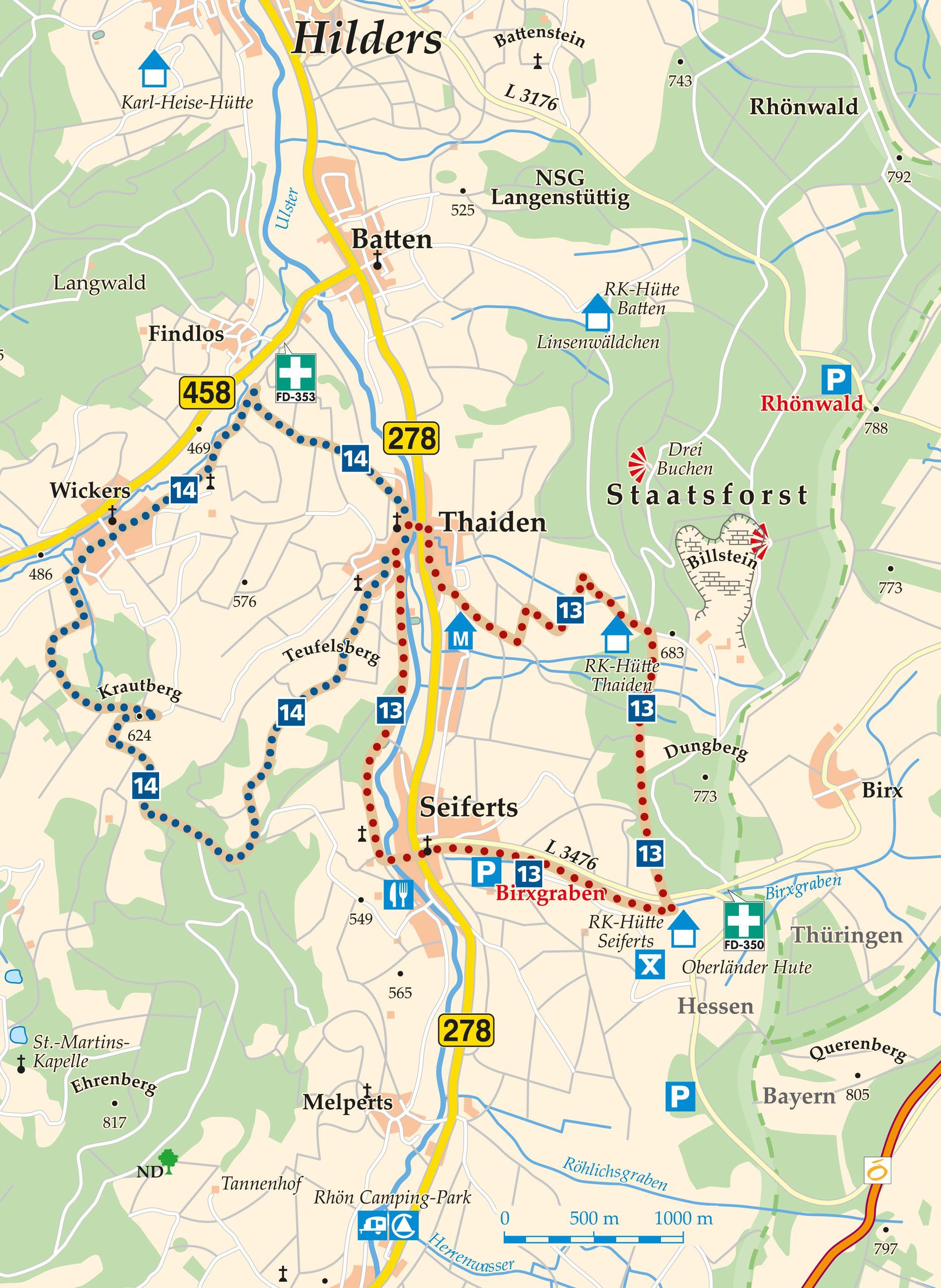 Rhön-Rundweg 13 Thaiden Karte