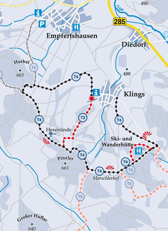 Skiwanderweg T4 Hexenlindenweg Karte