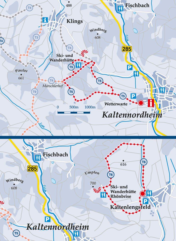 Skiwanderweg T6 Kaltenlengsfeld Karte