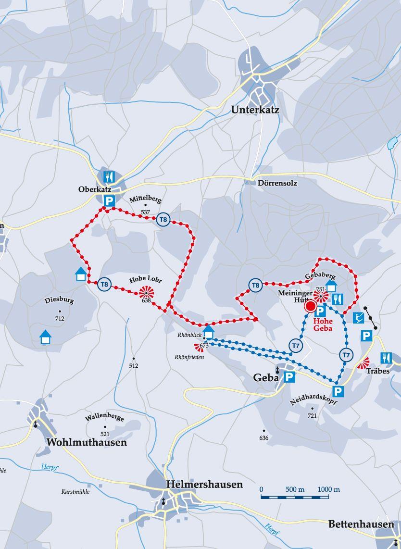 Skiwanderweg T8 Aschenhausen Karte