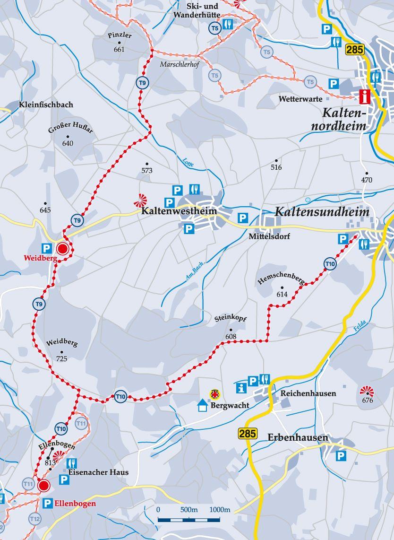 Skiwanderweg T11 Ellenbogen Karte
