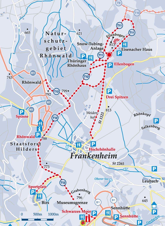 Skiwanderweg T12 Hochrhön Karte
